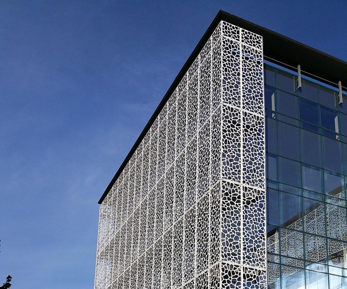 façade de bâtiment cassette perforée en Aluminium